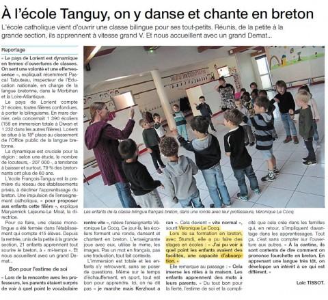 LORIENT - A l'école Tanguy, on y dans et chante en breton