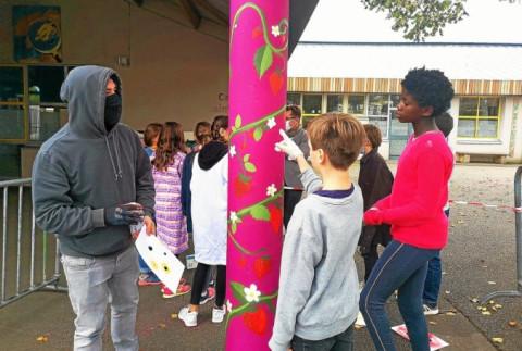 PLOUGASTEL-DAOULAS - Le graffeur Pakone à l'école Saint-Pierre